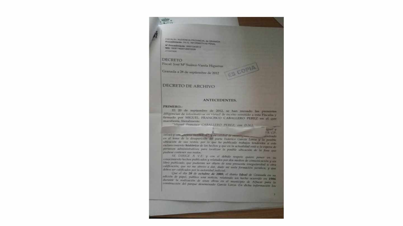 Denuncia puesta en la Fiscalía provincial de Granada.
