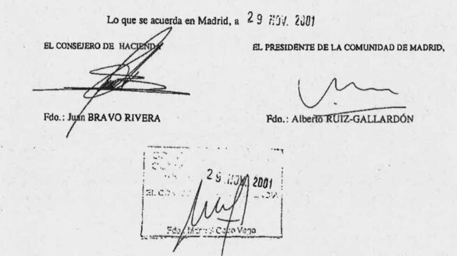 Firma de Ruiz-Gallardón en el acta del Consejo de Gobierno de 29 de noviembre de 2001 que autorizó la compra de la compañía colombiana Inassa.