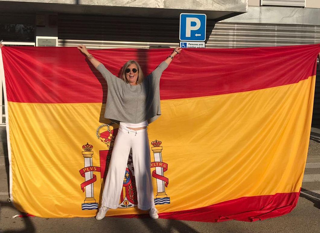 Inmaculada A.G., cabo de los Mossos, en un acto en defensa de la unidad de España.