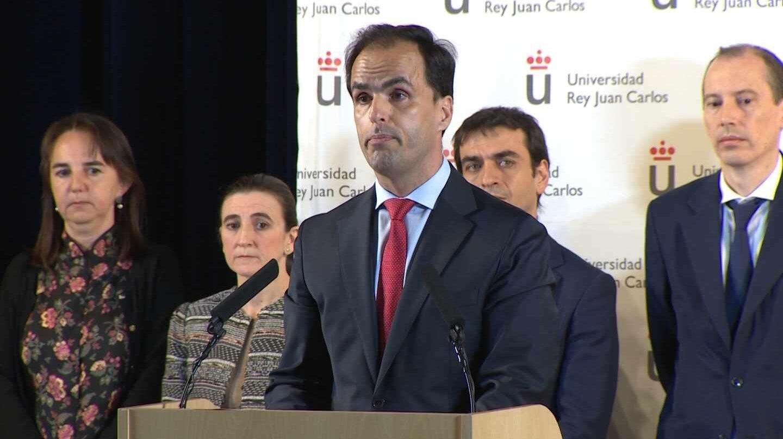 El rector de la URJC, Javier Ramos, en la conferencia de prensa ofrecida la pasada semana.