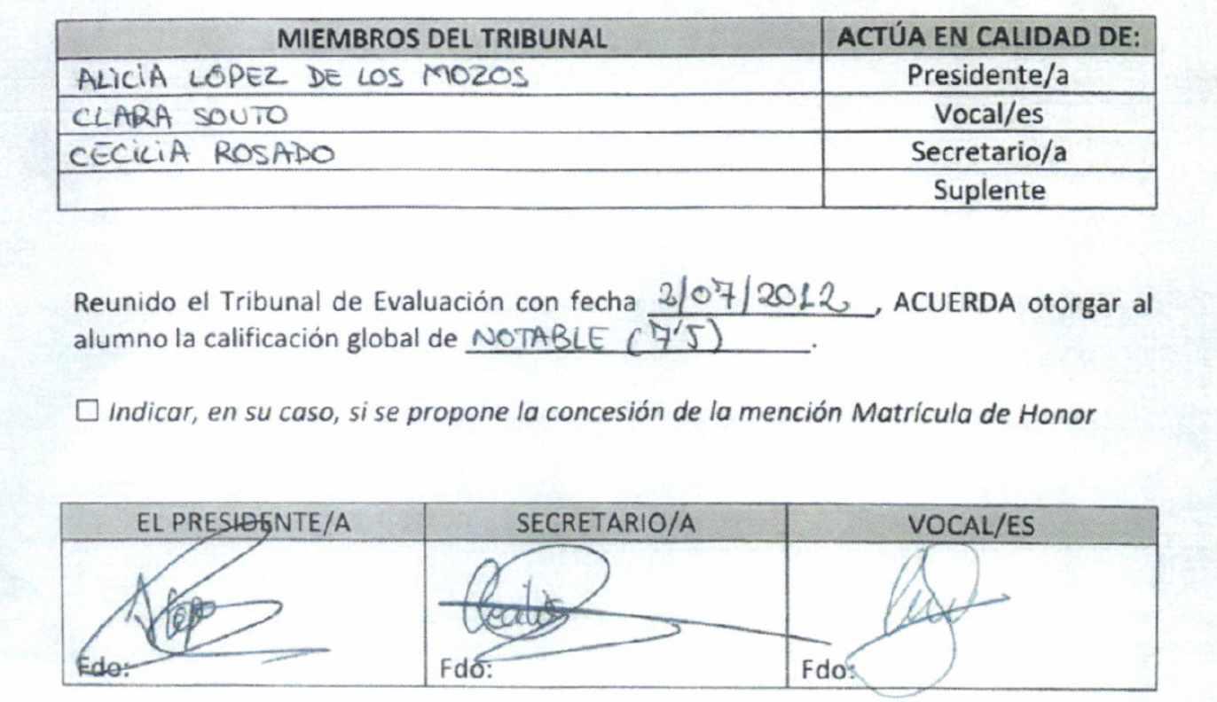 Acta falsificada de la defensa del TFM de Cristina Cifuentes.