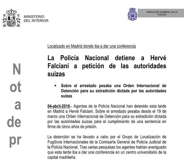 Nota de prensa de la Policía Nacional sobre la detención de Hervé Falciani.