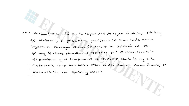 Extracto de la entrevista con Jordi Sánchez (preg. 10)