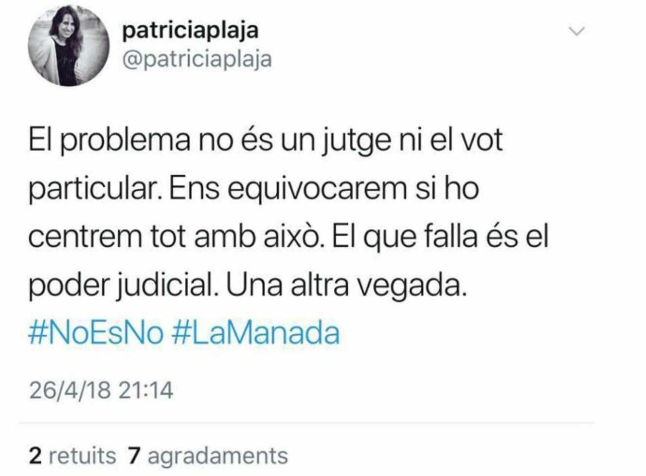 El tweet que ha provocado la destitución de la jefa de prensa de los Mossos, Patricia Plaja.