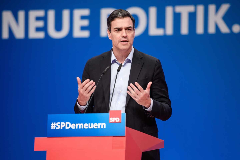 El secretario general del PSOE, Pedro Sánchez, en una conferencia en Alemania.