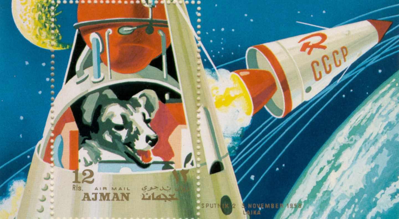 La perra Laika, en un sello conmemorativo de los EAU de 1967
