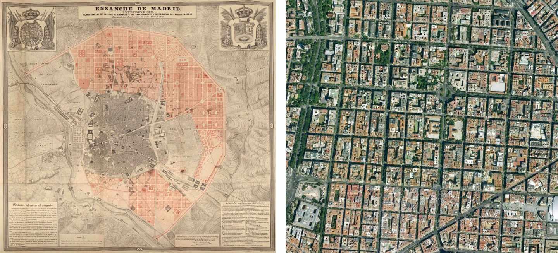 Plano de Castro de 1857 y actual trama en vista aérea
