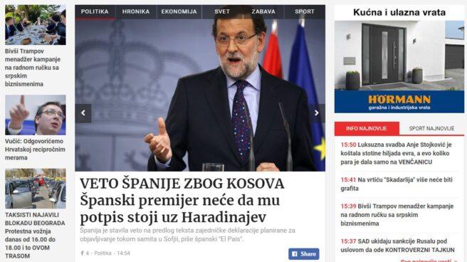 Apertura del diario serbio Blic, con la noticia del veto español a Kosovo en portada.