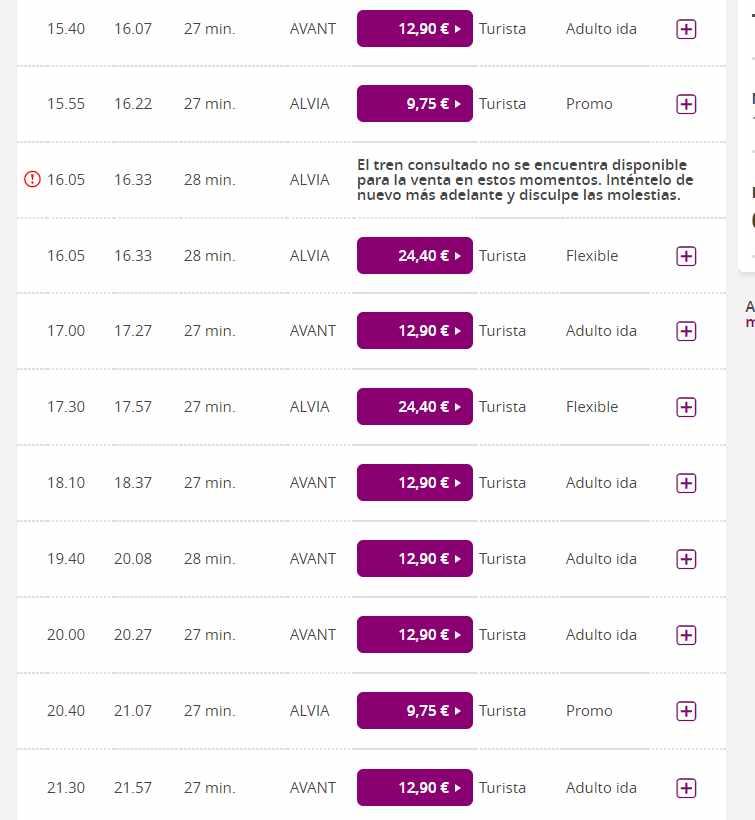 19.40 horas. Mismo tren, distinto nombre (Avant) y 12,90 euros.