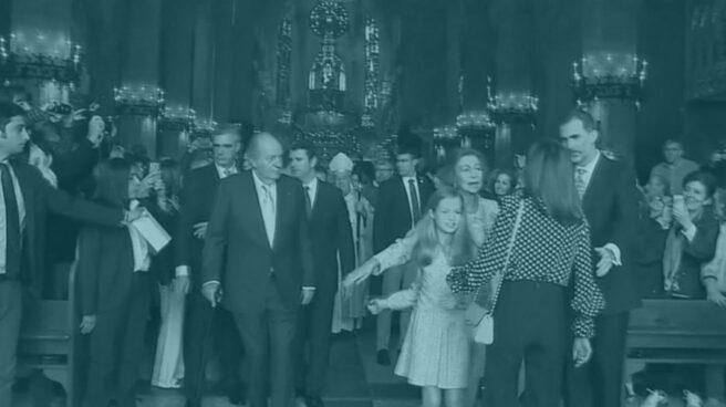 El momento del rifirrafe entre Doña Letizia y Doña Sofía.