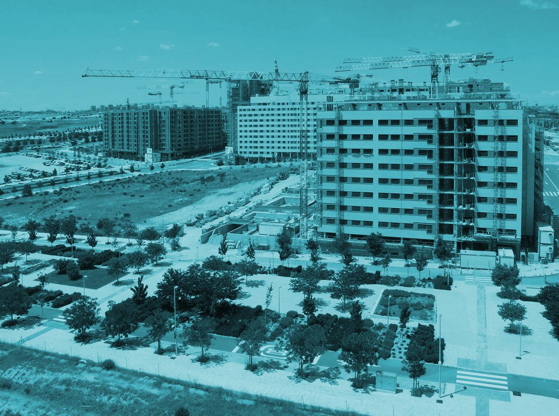 Edificios de viviendas en construcción.