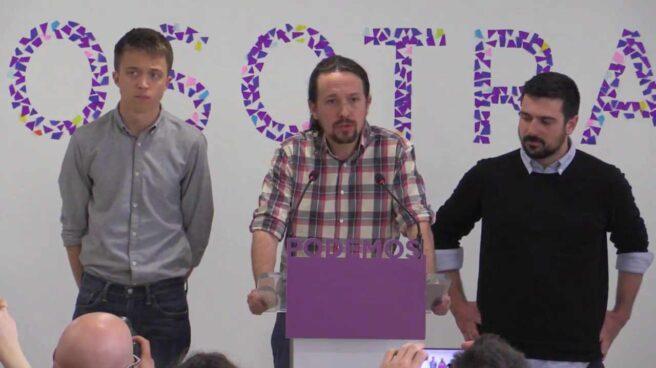 Iñigo Errejón, Pablo Iglesias y Ramón Espinar.