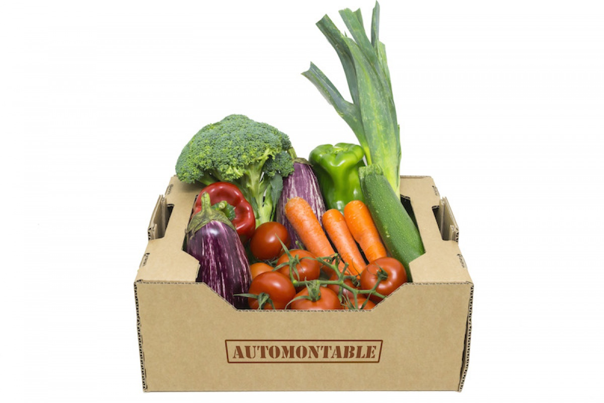 Caja de cartón para verduras y frutas