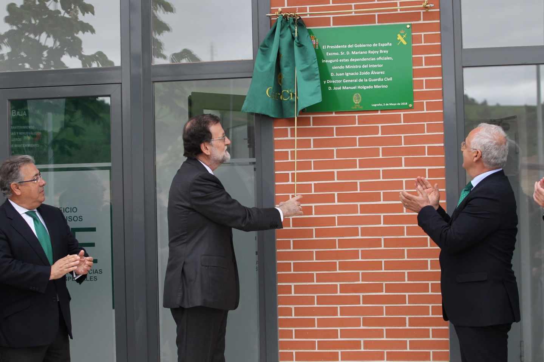 Mariano Rajoy, el ministro del Interior, Juan Ignacio Zoido, y el presidente de La Rioja, José Ignacio Ceniceros.