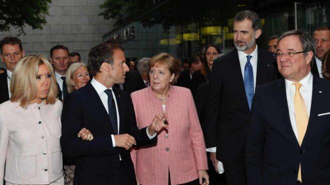 Emmanuel Macron, en la ceremonia del Premio Carlomagno.