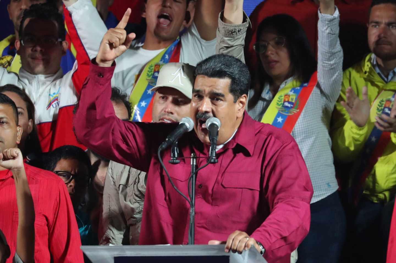 Discurso de Nicolás Maduro en Caracas en la noche electoral.
