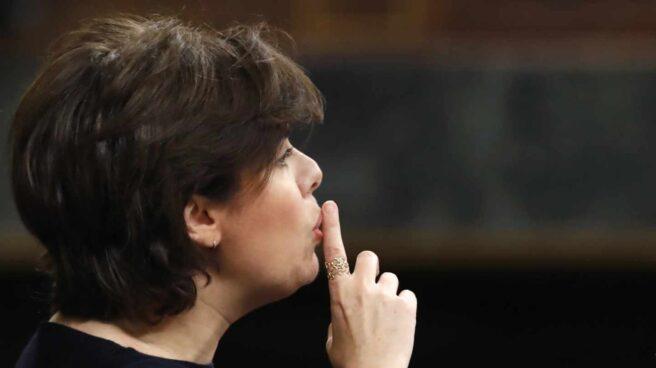 La vicepresidenta, Soraya Sáenz de Santamaría, en el debate parlamentario sobre Presupuestos