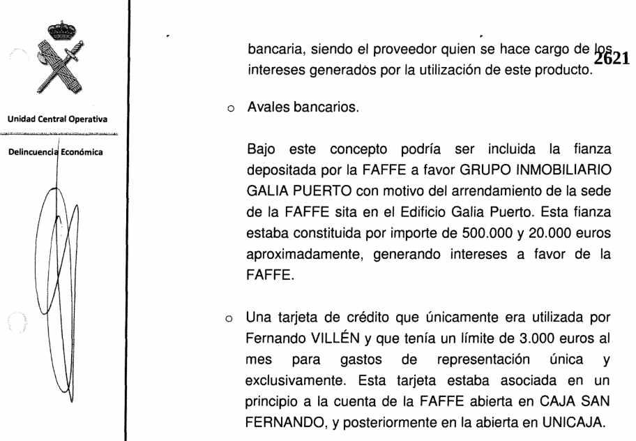 Declaración ante la UCO de una antigua técnico reconocido la existencia de tarjetas en la Faffe.