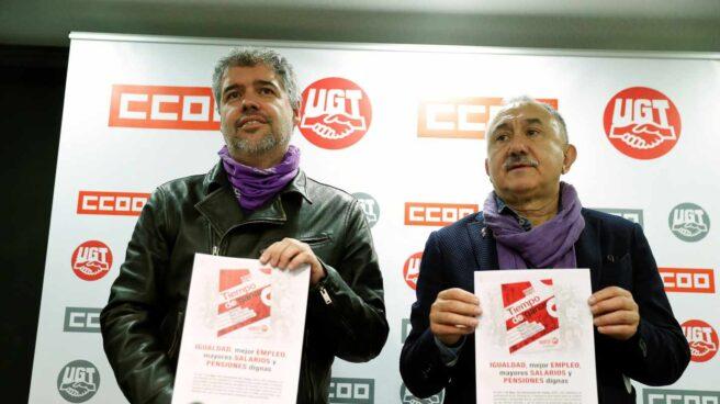 Los secretarios generales de CCOO, Unai Sordo, y UGT, Pepe Álvarez.