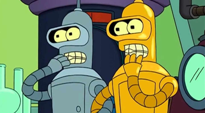 El robot Bender de Futurama se encuentra con su gemelo de un universo paralelo