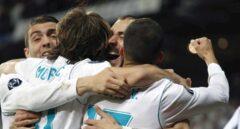 Benzema, tras uno de sus goles al Bayern.