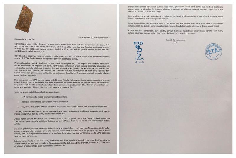 Carta emitida por ETA. EFE