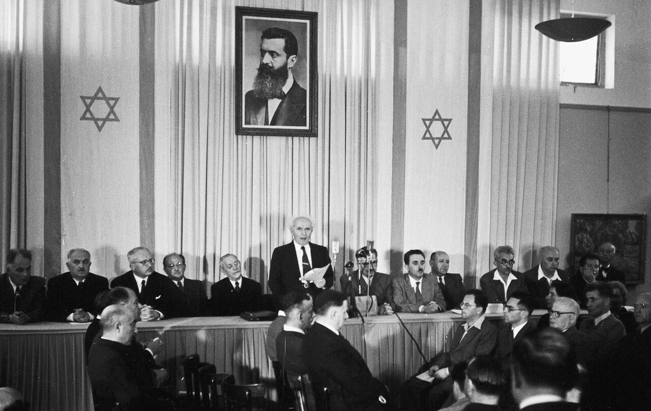 David Ben Gurión, proclama el Estado de Israel, en un museo de Tel Aviv, el 14 de mayo de 1948.