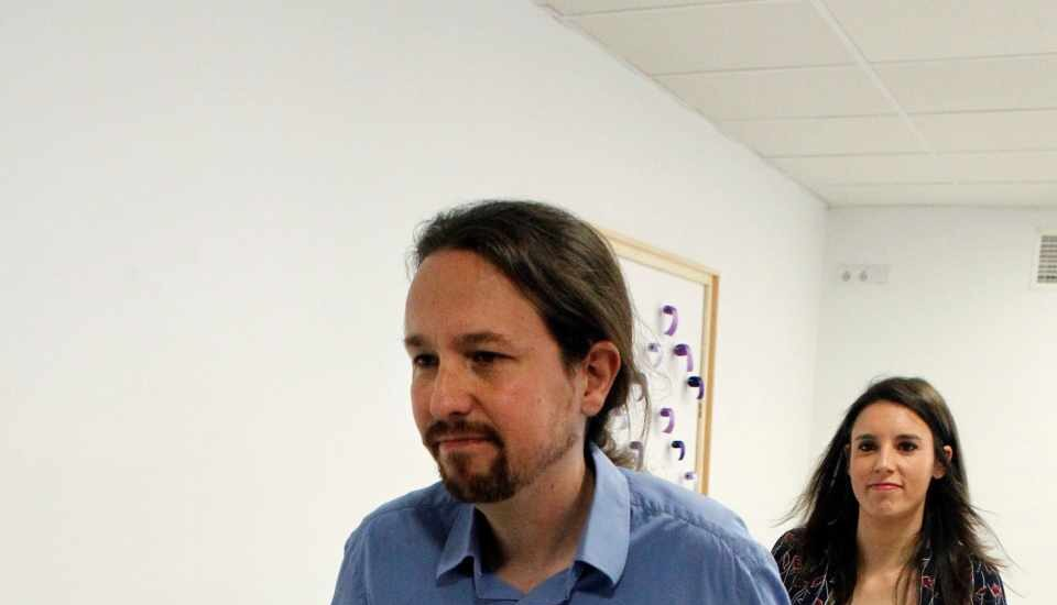 Iglesias y Montero, en la sede de Podemos.