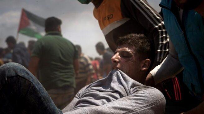 Un palestino herido en las protestas por el traslado de la embajada de EEUU a Jerusalén.
