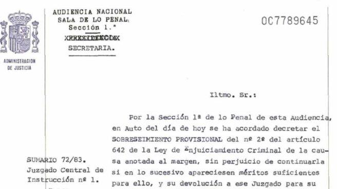 Resolución de la Audiencia Nacional por la que se decretó el sobreseimiento provisional del caso por el asesinato de José Ignacio Ustaran.