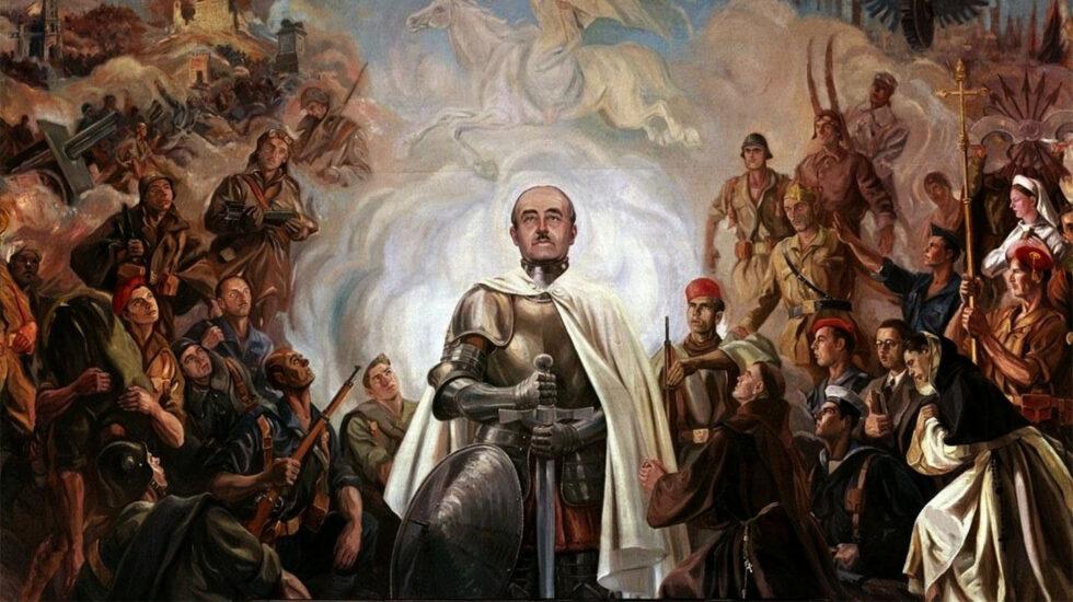 «Alegoría de Franco y la Cruzada» mural de Arturo Reque Meruvia «Kemer»