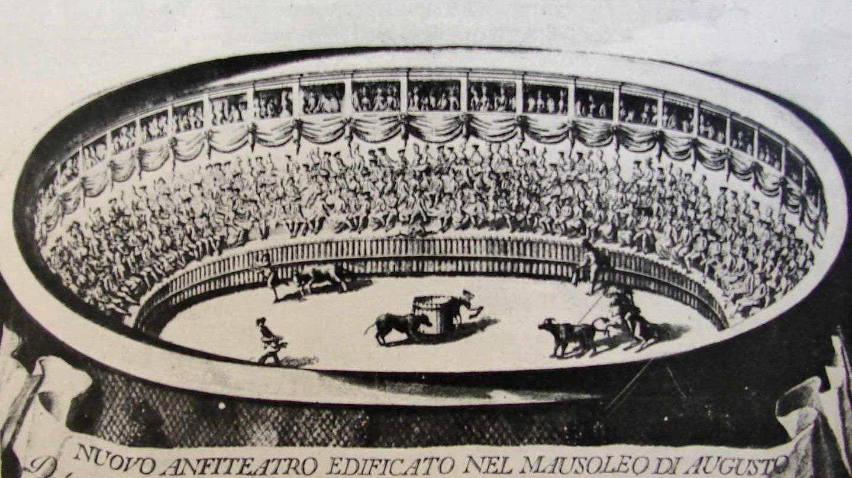 Estampa de 1780 del Barbazza con la Giostra de Bernardo Matas en el Anfiteatro Correa