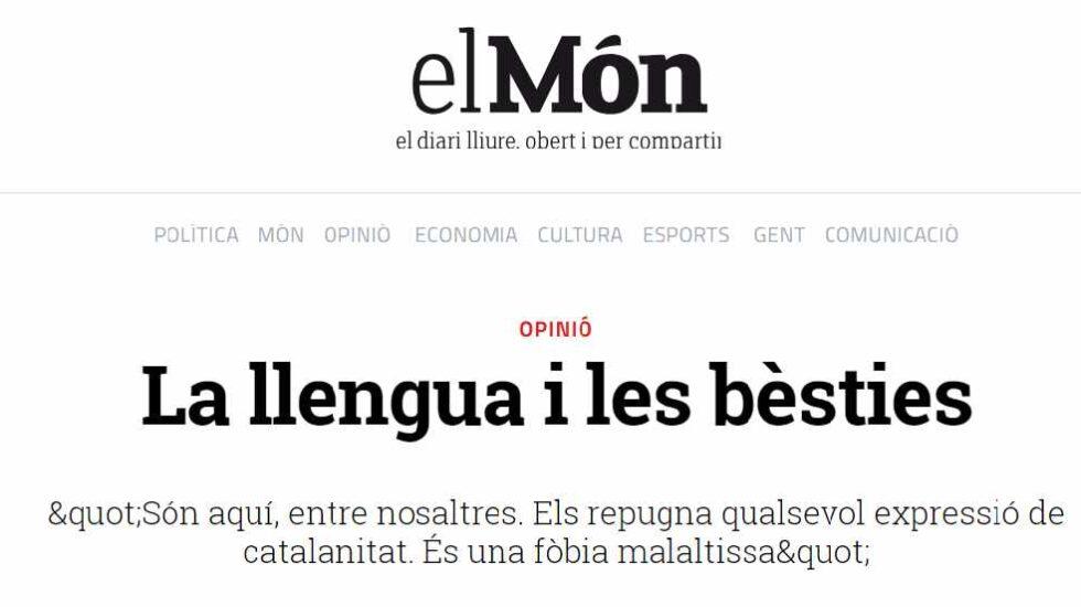 Artículo de Quim Torra publicado El Mon