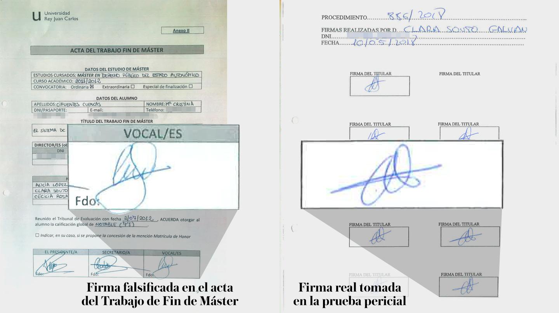 Firmas del acta del TFM y firmas en la prueba pericial