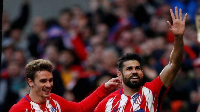 Antoine Griezmann y Diego Costa durante un partido del Atlético de Madrid.
