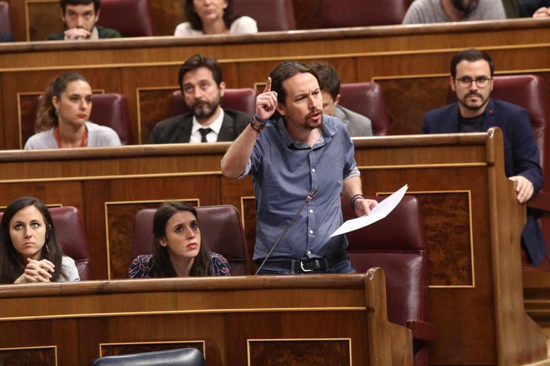 Pablo Iglesias, en la sesión de control en el Congreso.