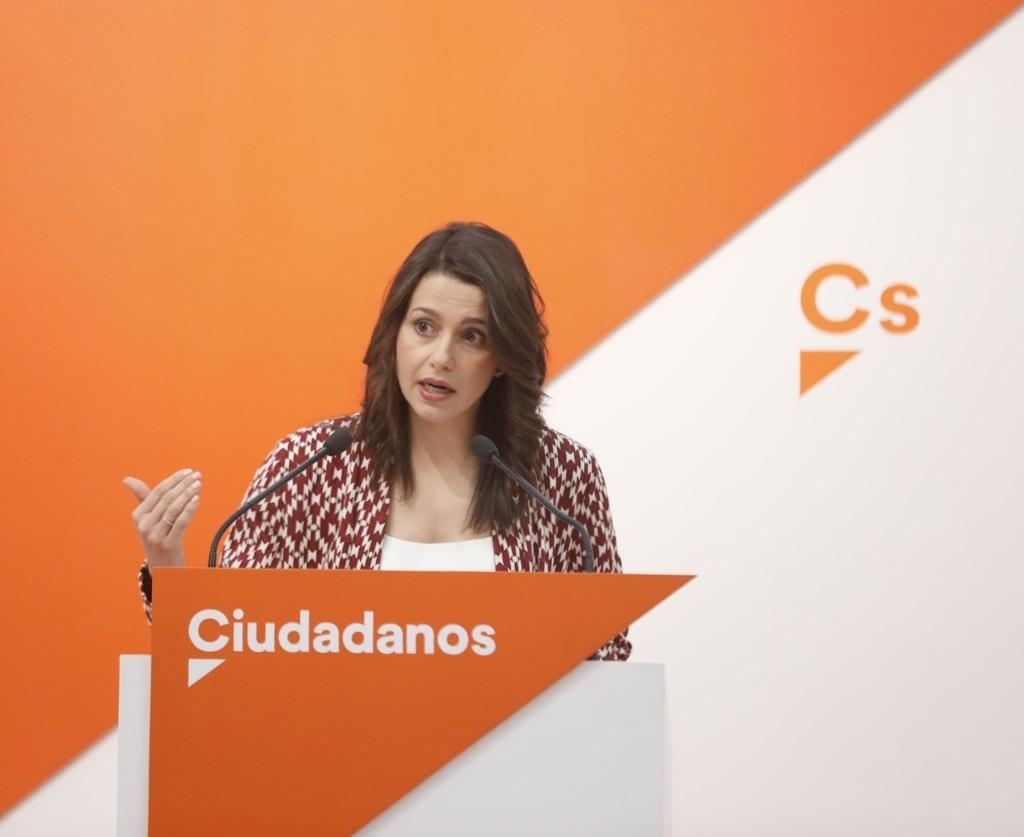 La portavoz nacional de Ciudadanos, Inés Arrimadas, durante la rueda de prensa después de la Ejecutiva.