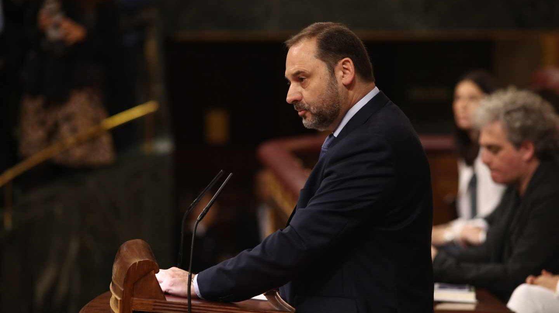 El secretario de Organización del PSOE, José Luis Ábalos, en su intervención en la moción de censura.