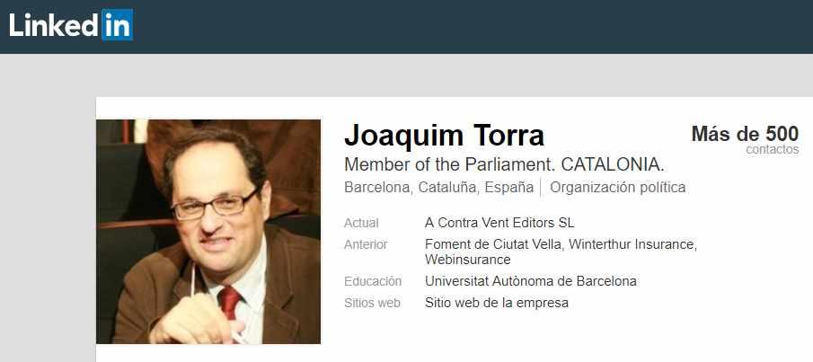 Perfil de Quime Torra en la red profesional Linkedin.