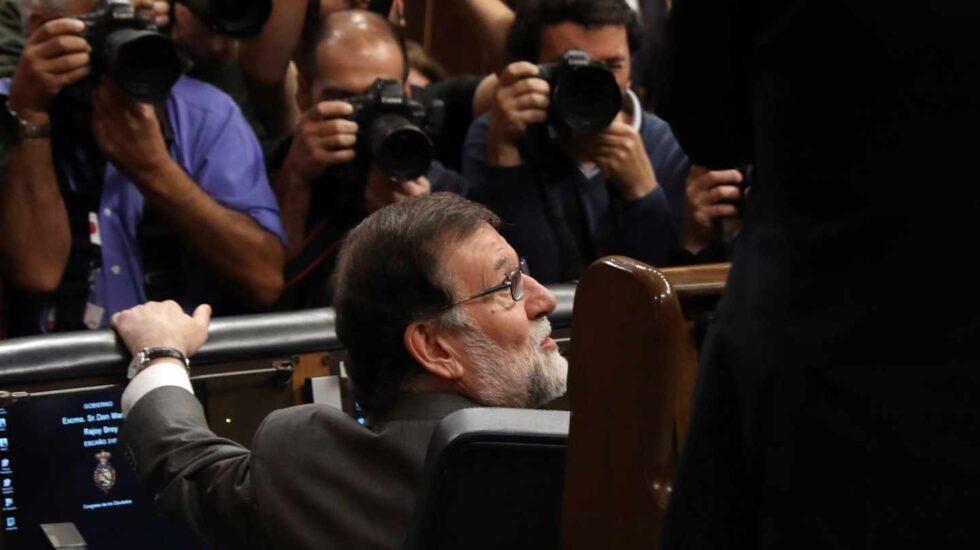 El presidente del Gobierno, Mariano Rajoy, en su escaño.