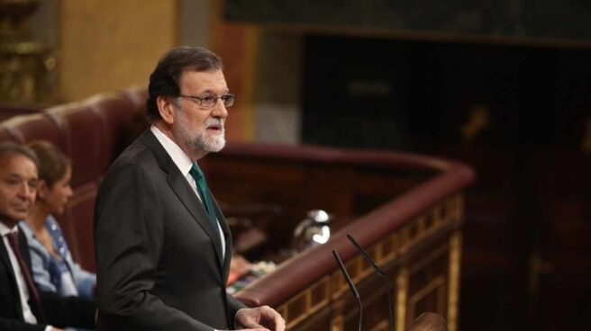 El presidente del Gobierno, Mariano Rajoy, durante su intervención en la moción de censura en el Congreso.