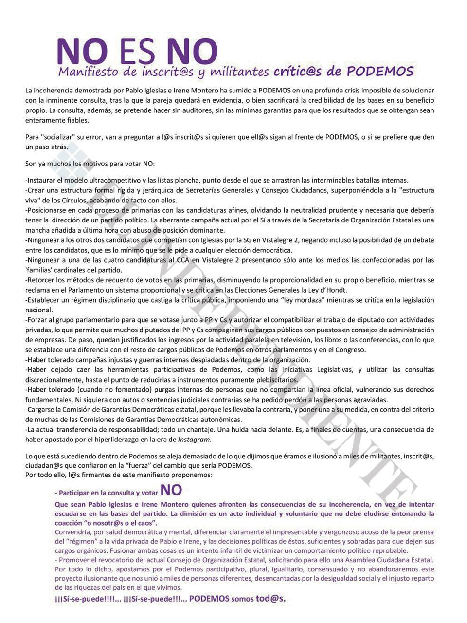 """Documento """"NO es NO"""""""