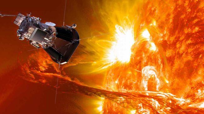 Recreación de la nave Parker junto al Sol