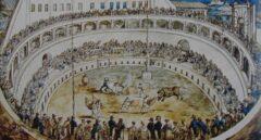 Pintura de B. Pinelli de 1810 con espectáculos de toros en el Mausoleo de Augusto
