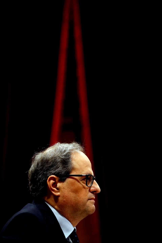 El candidato a la Presidencia de la Generalitat de Cataluña, Quim Torra, durante el debate de investidura.