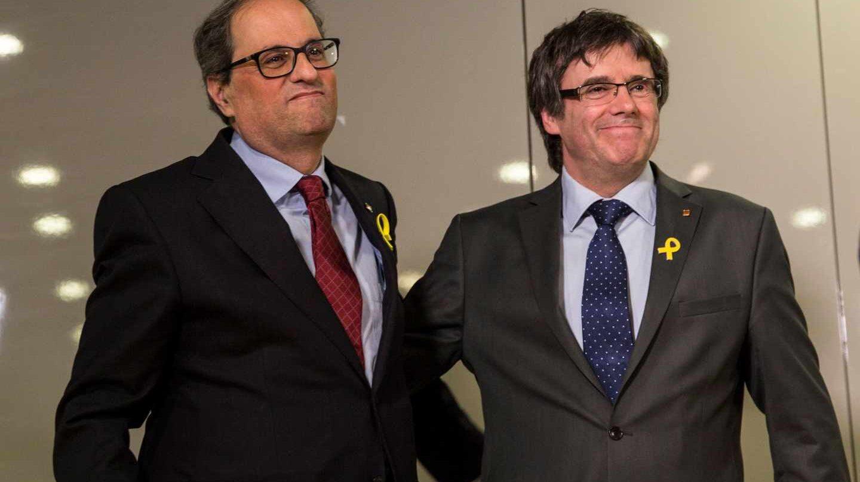 El nuevo presidente de la Generalitat, Quim Torra, junto a Carles Puigdemont en Berlín.