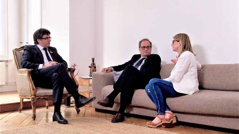 Carles Puigdemont, Quim Torra y Elsa Artadi.