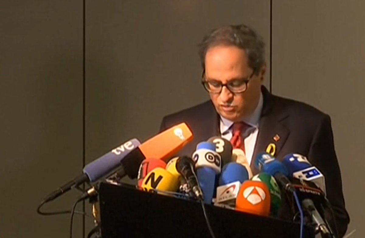 El presidente de la Generalitat, Quim Torra, en la rueda de prensa celebrada con Puigdemont en Berlín.