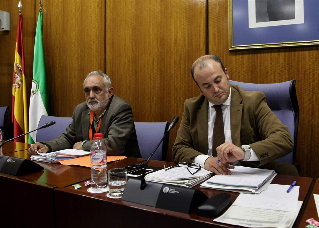 Fernando Villén (izquierda), cuando declaró en la comisión de investigación del Parlamento de Andalucía por el fraude de los cursos.
