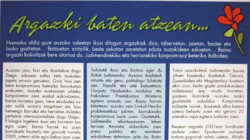 Perfil de los tres miembros de ETA publicado en el programa de fiestas.